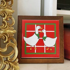 Vintage Red Ceramic Goose Tile Wall Art Decor